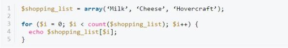 Vòng lặp for PHP