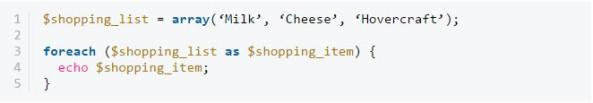 Vòng lặp foreach PHP