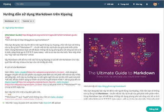 Kipalog cung cấp một trình soạn thảo đa tính năng cho định dạng Markdown